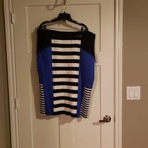 Eloquii Black&White stripped w blue Skirt